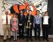 Coach Rob Fetters,  Mary Harris, Christian Knox, Luke Trese, Malcolm McDonnell, Jacob Lebold with Licking County Quiz Bowl League Trophy