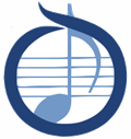Blue circle OMEA logo with blue quarter note.