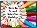 Colored Pencils announcing back to school sales tax holiday.
