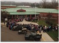 Aerial view of Mount Vernon Middle School during Veterans Day breakfast.