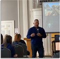 Phil Chalmers speaking during training workshop at the Memorial Building.