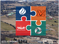 Access to Opportunity Logo over an aerial view of the city of Mount Vernon.