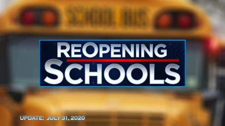 Reopening Schools with a school bus in the background.