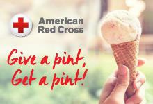 Pint for a Pint Blood Drive with picture of Ice Cream Cone.