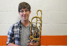 Spencer Riffle with his trombone.