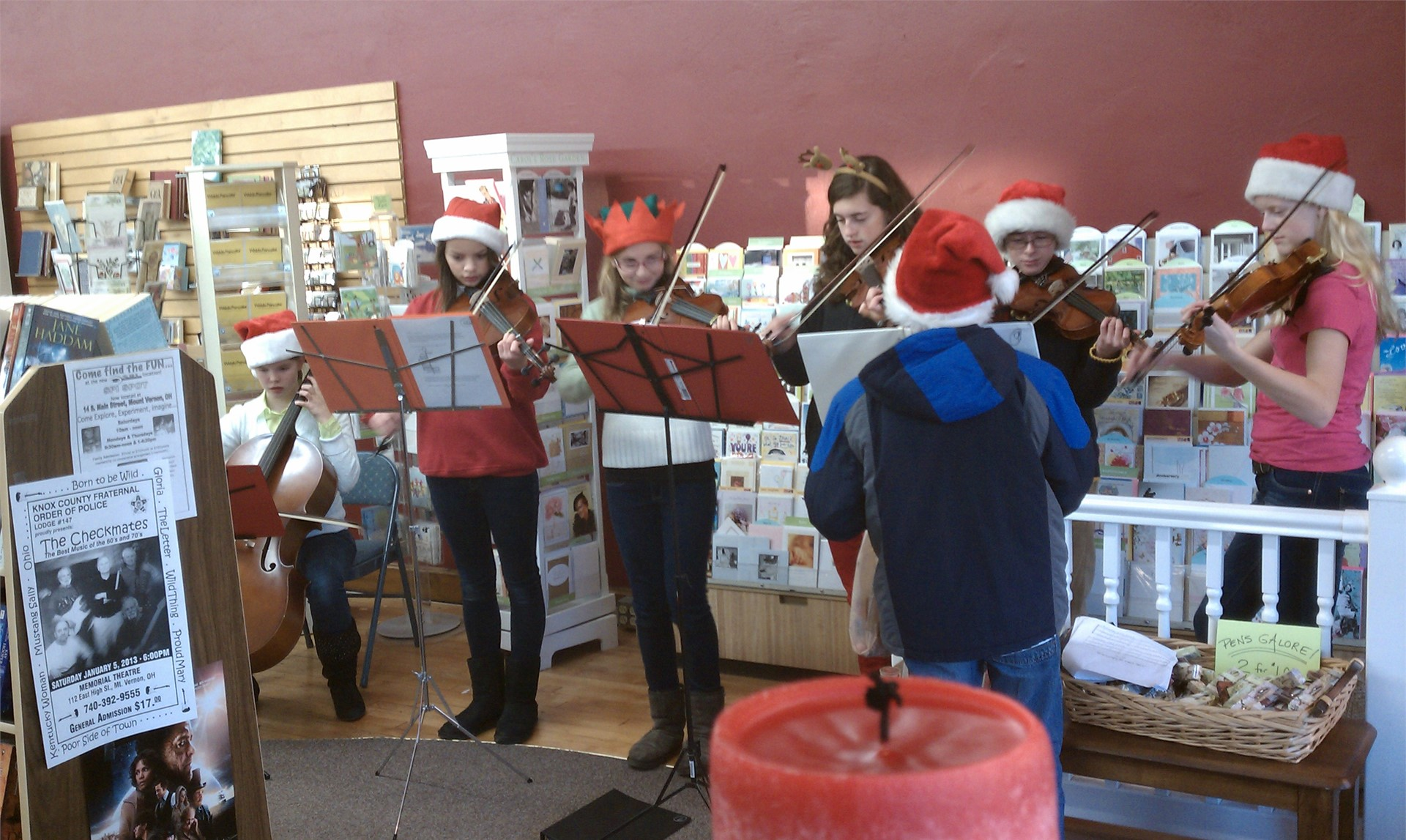 Orchestra students perform at the annual Christmas Walk.