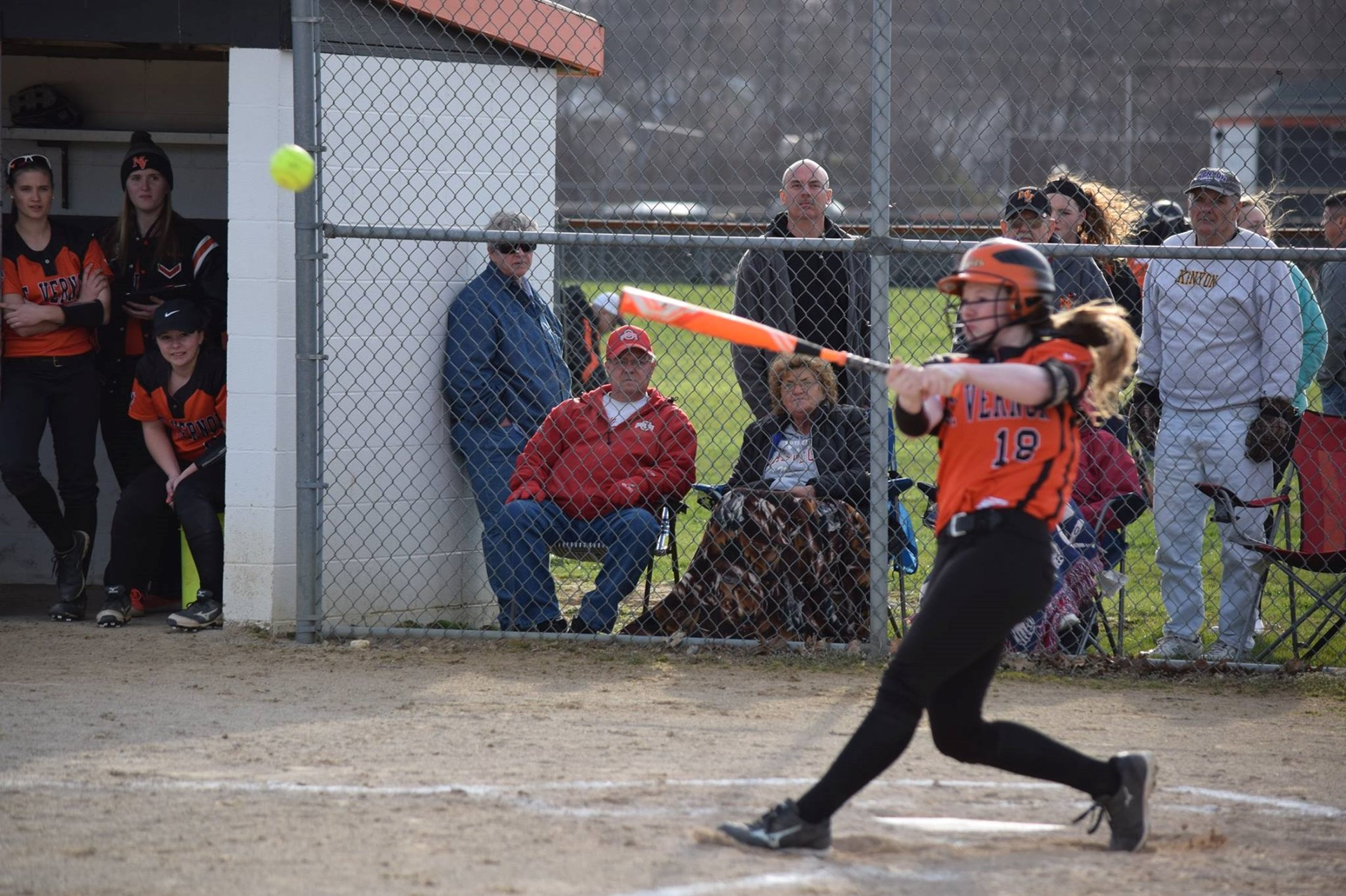 Hope Straight hitting for the Girls Softball Team