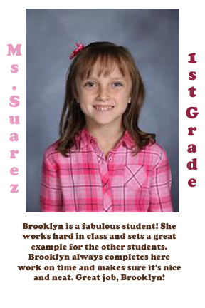 Ms.Suarez's September Student of the Month
