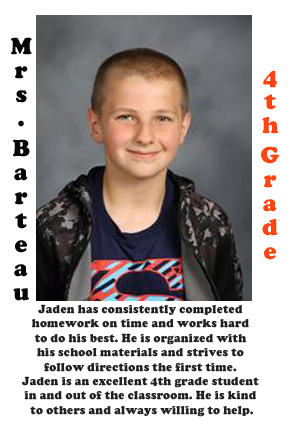 Mrs. Barteau's September Student of the Month
