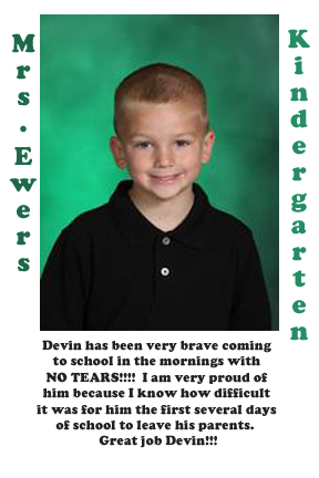 Mrs. Ewers' September Student of the Month