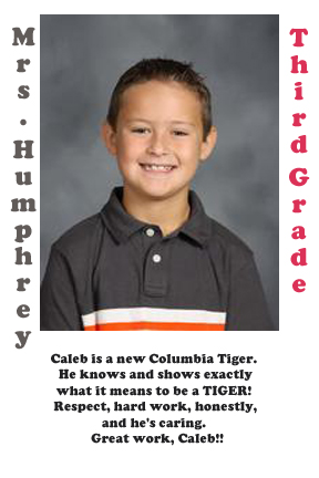Mrs. Humphrey's September Student of the Month