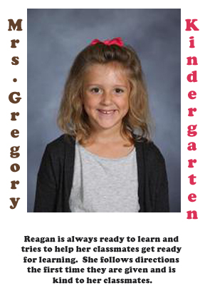 Mrs. Gregory's September Student of the Month