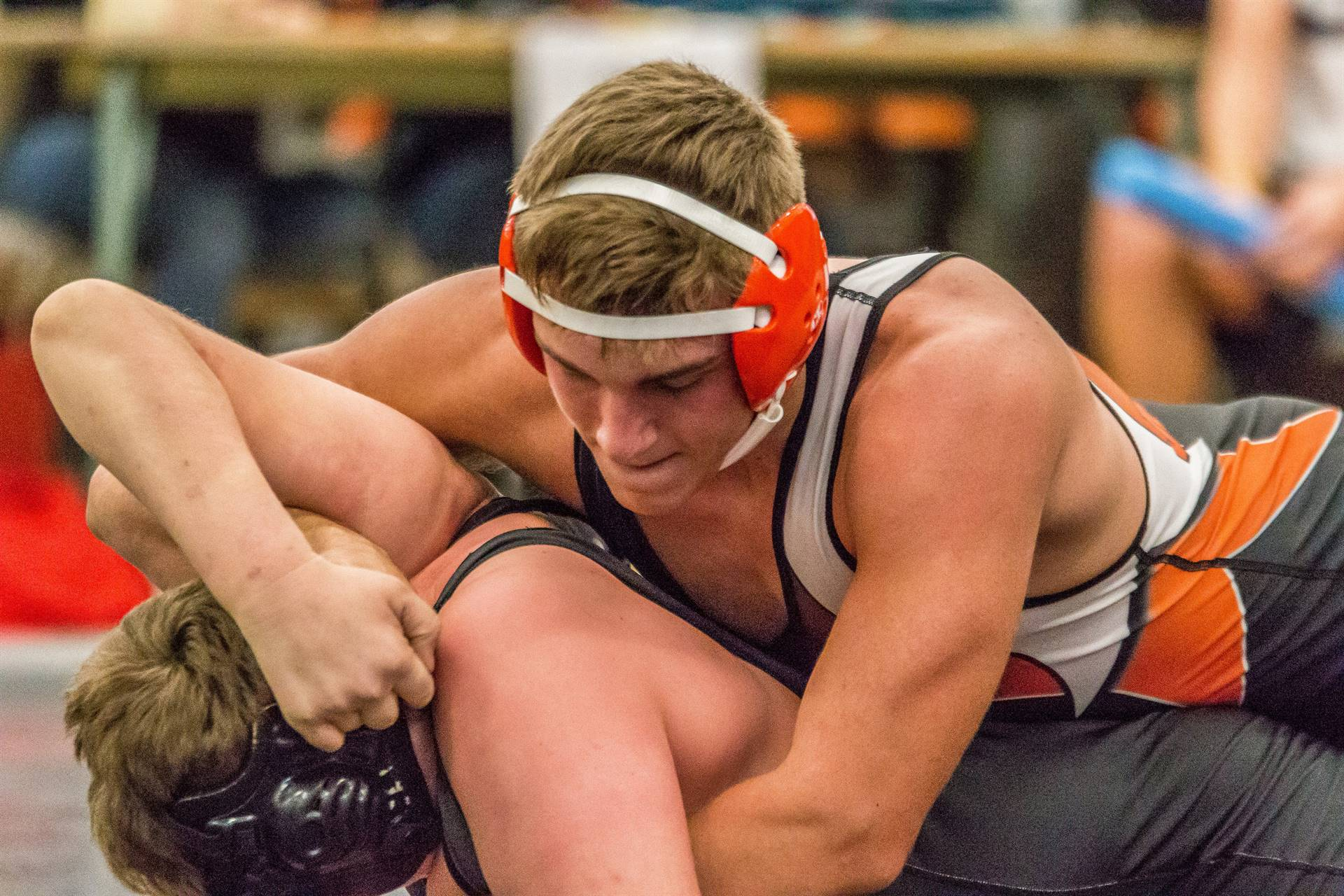 Jaxon Gregory turns an opponent.