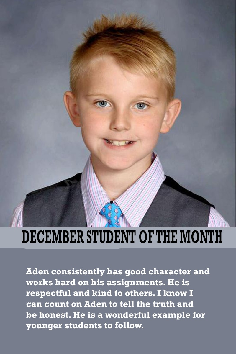 Mrs. Barteau's December Student of the Month
