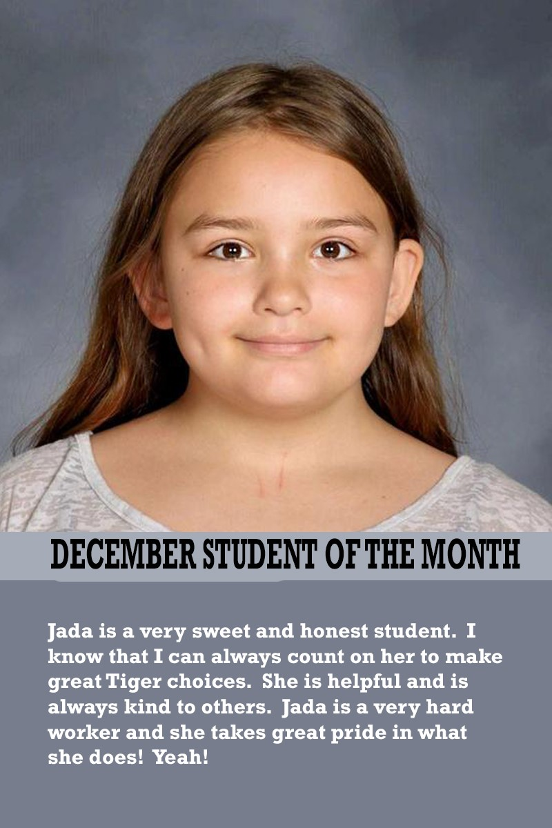 Mrs. Thomas' December Student of the Month