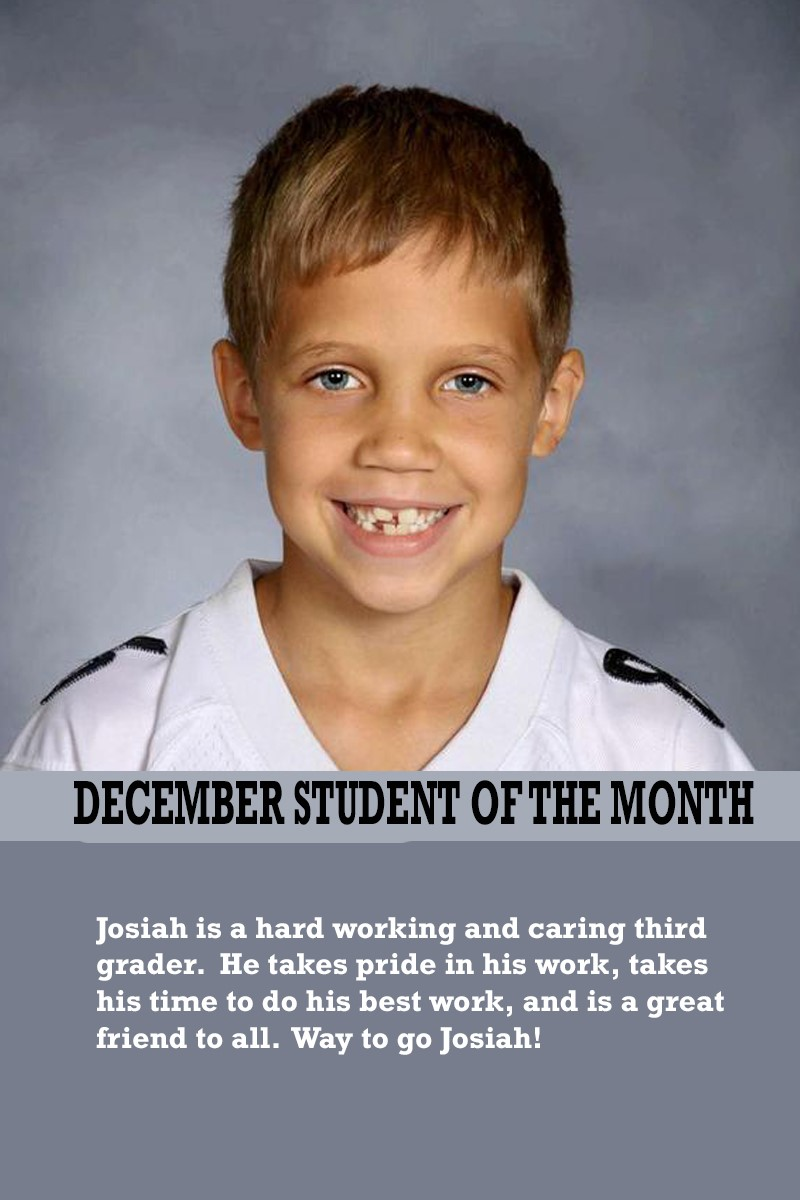 Mrs. Atkinson's December Student of the Month