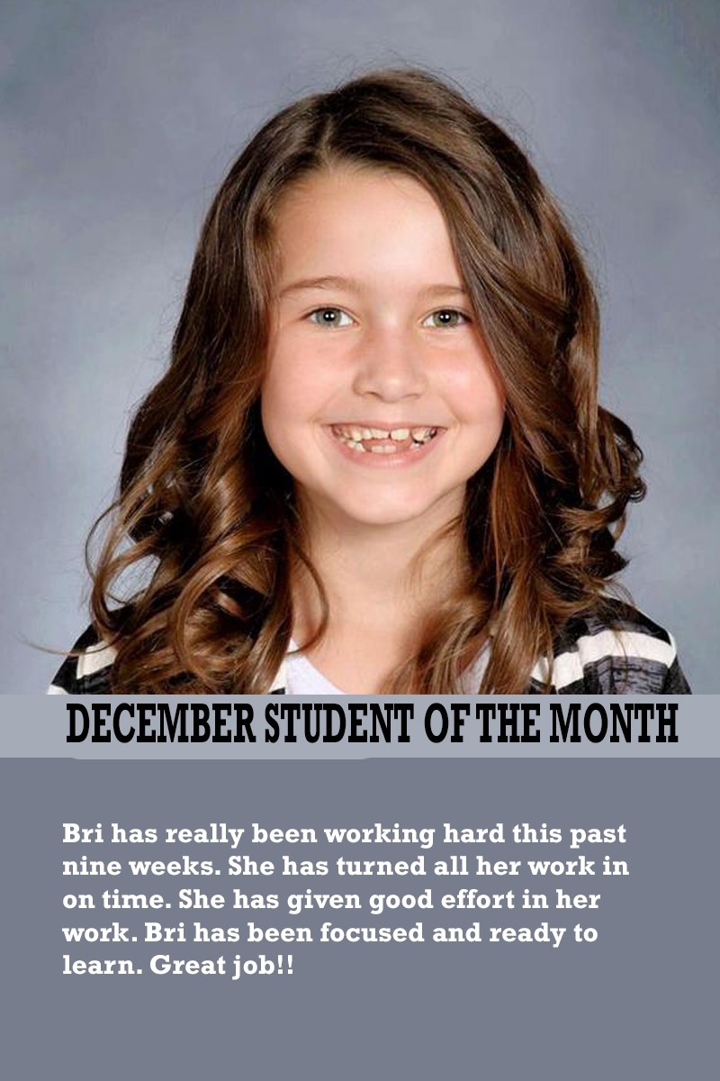 Mrs. Luna's December Student of the Month