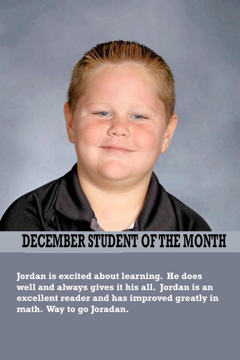 Mrs. Souhrada's December Student of the Month