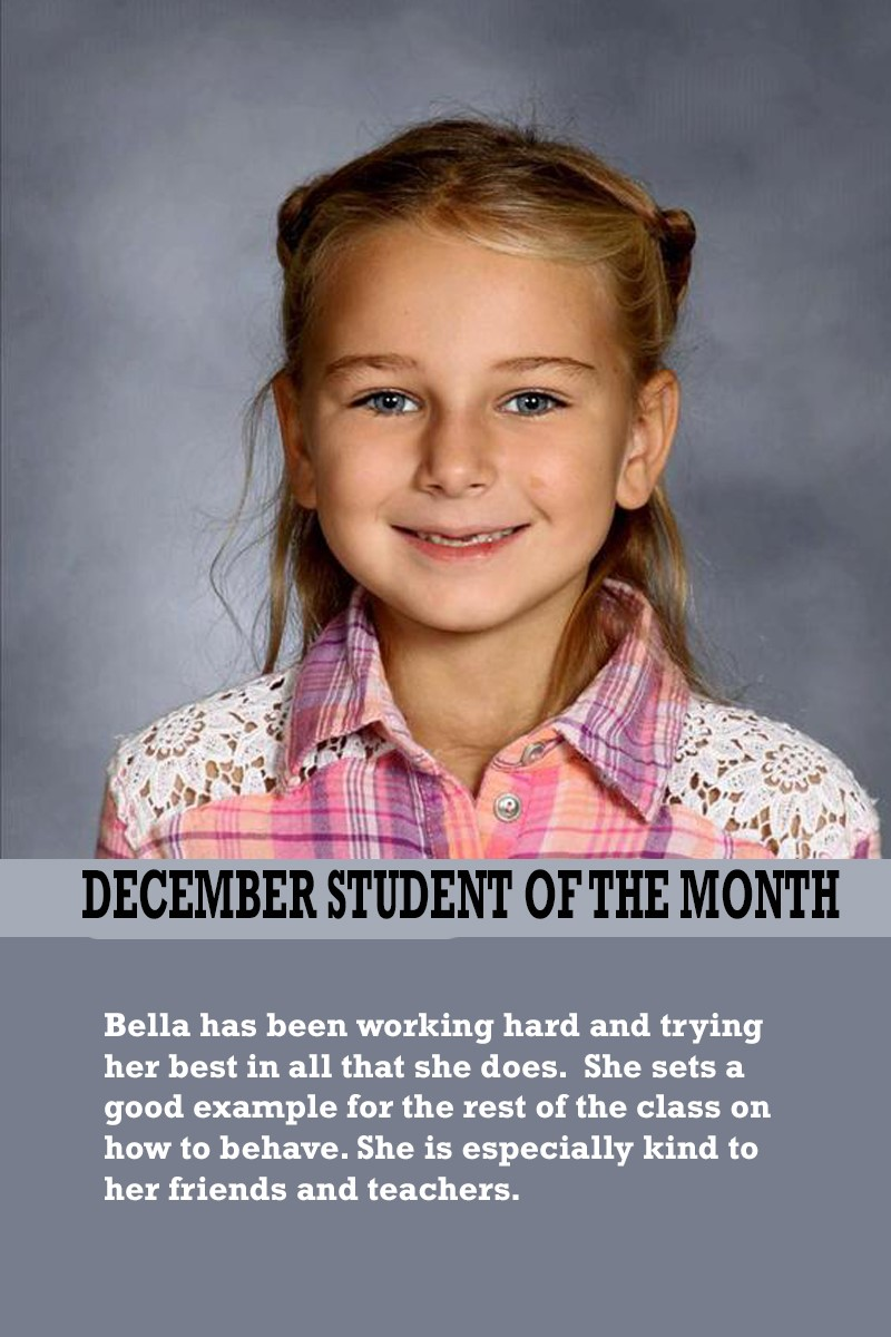 Mrs. Brown's December Student of the Month