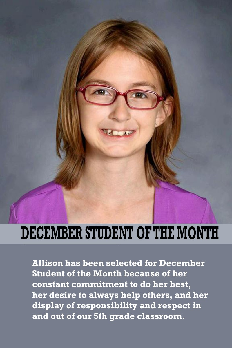 Mrs. Justice's December Student of the Month