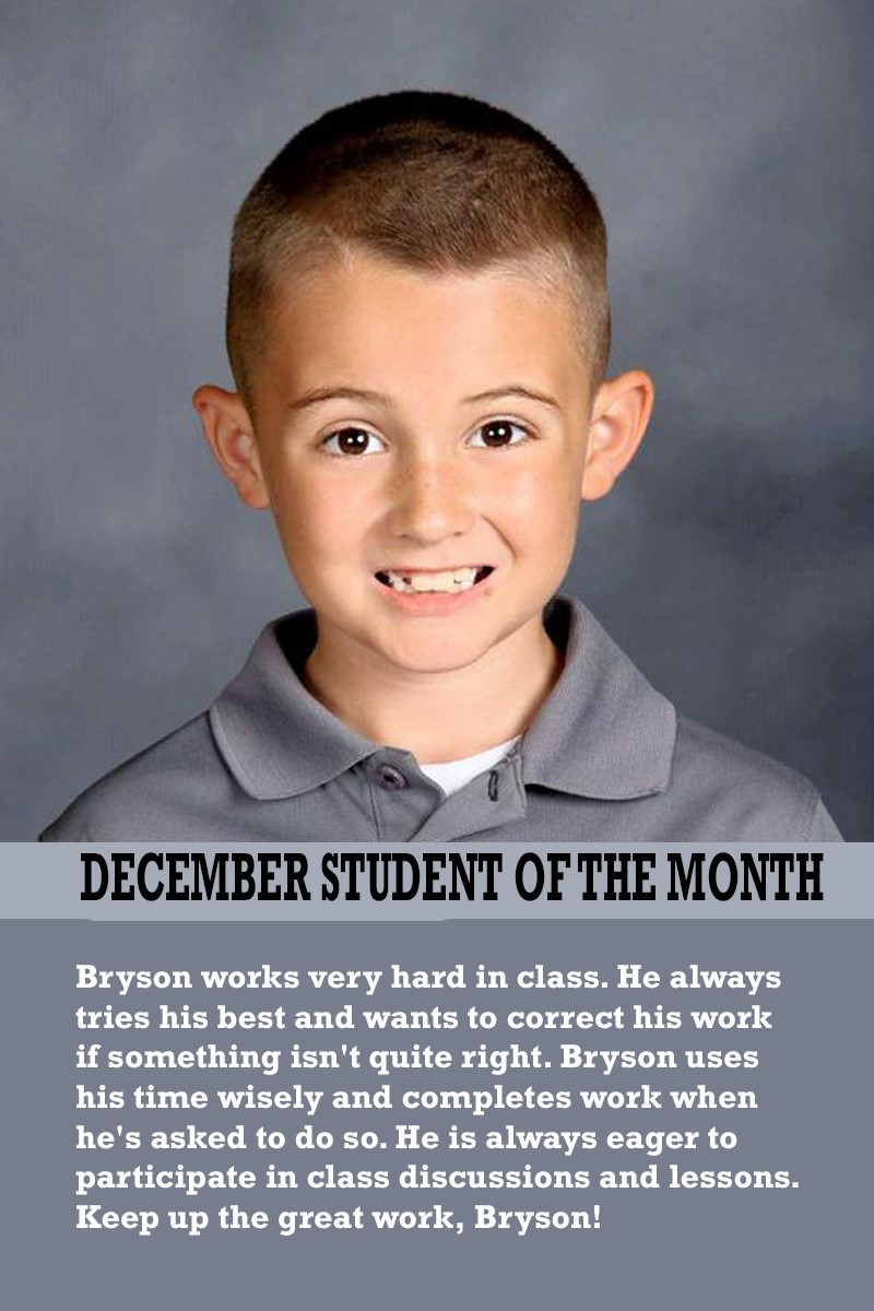 Ms. Suarez's December Student of the Month