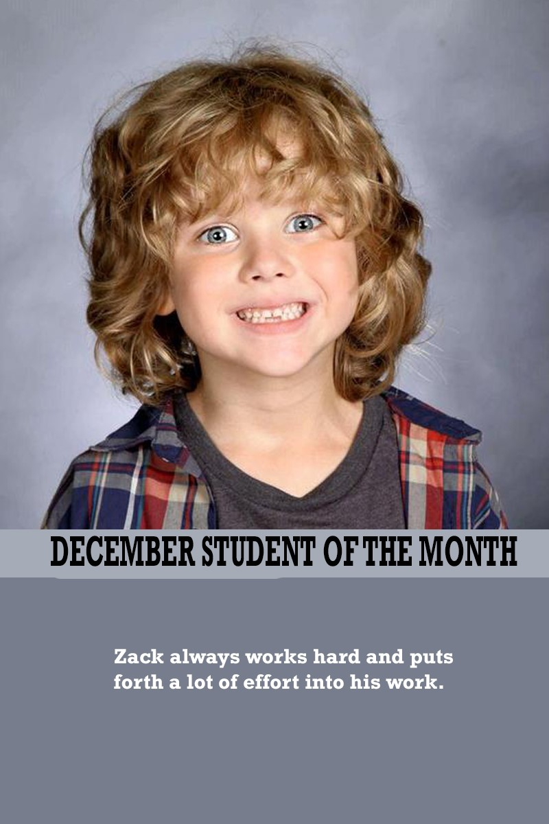 Mrs. Ewers' December Student of the Month