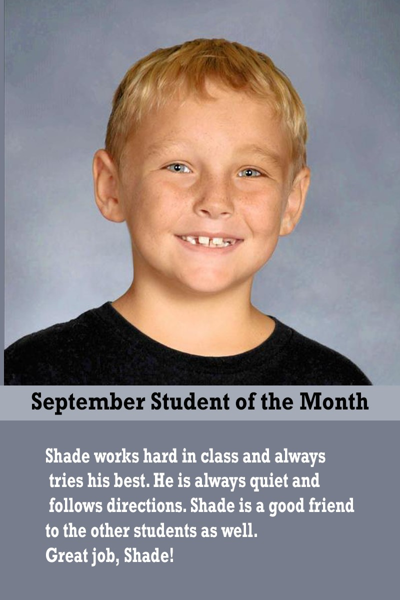Ms. Suarez's September Student of the Month