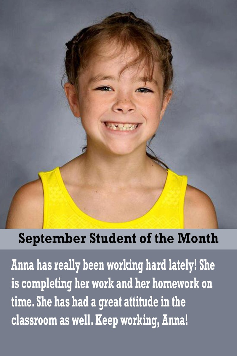 Mrs. Atkinson's September Student of the Month