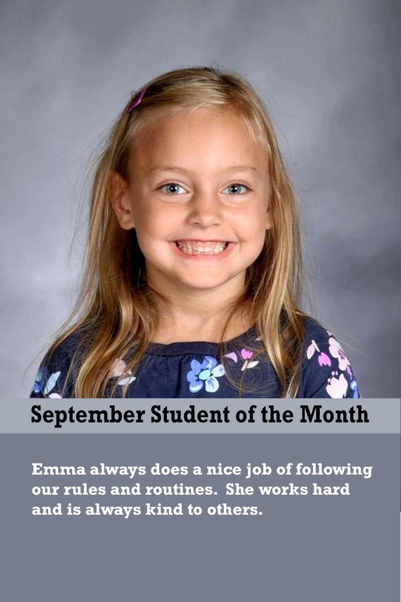 Mrs. Ewer's September Student of the Month
