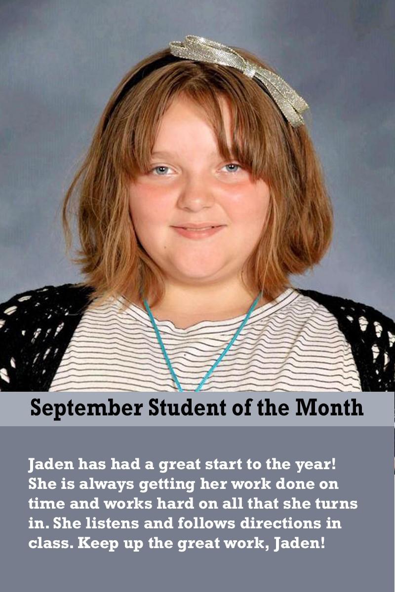 Mrs. Ferguson's September Student of the Month