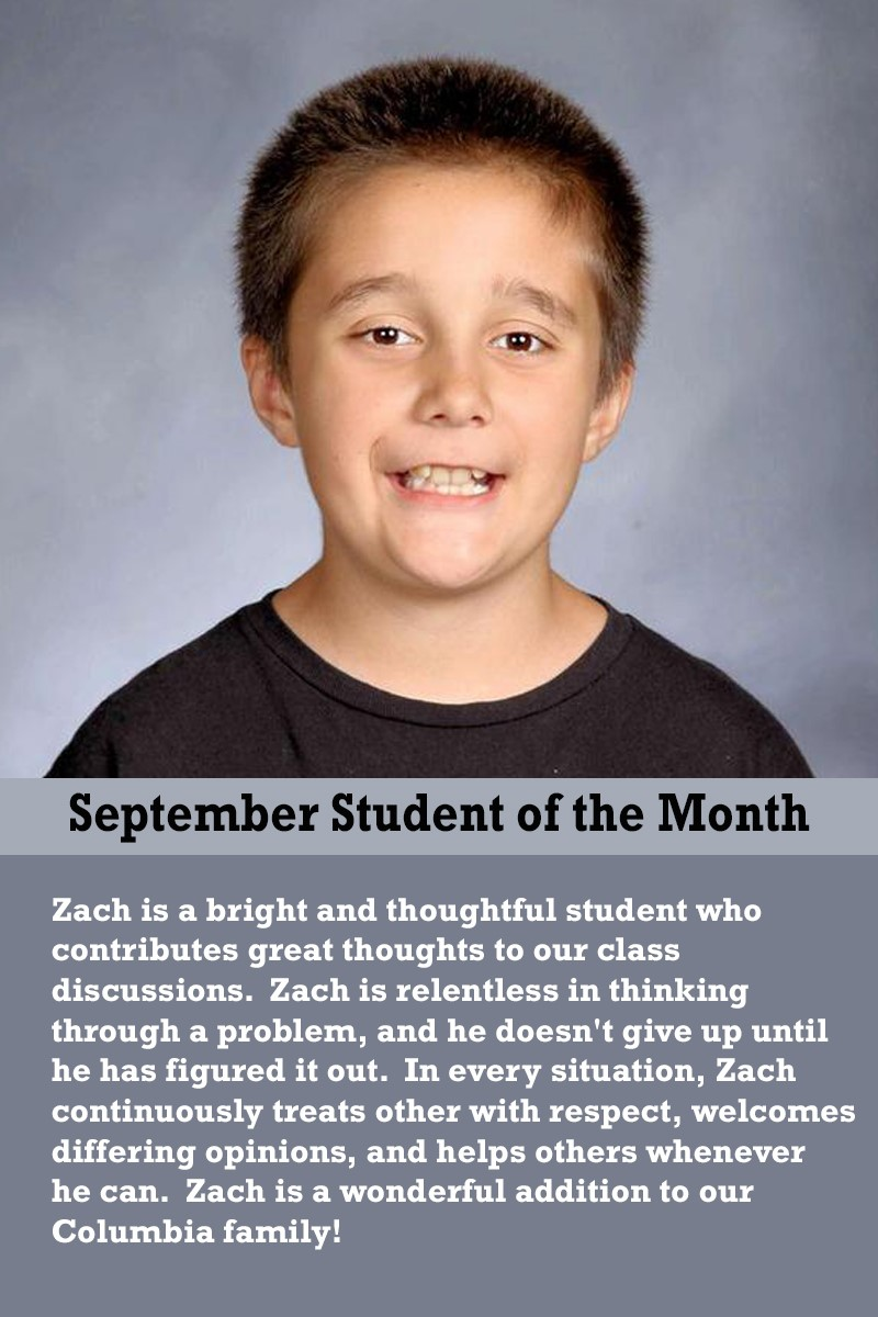Mrs. Justice's September Student of the Month