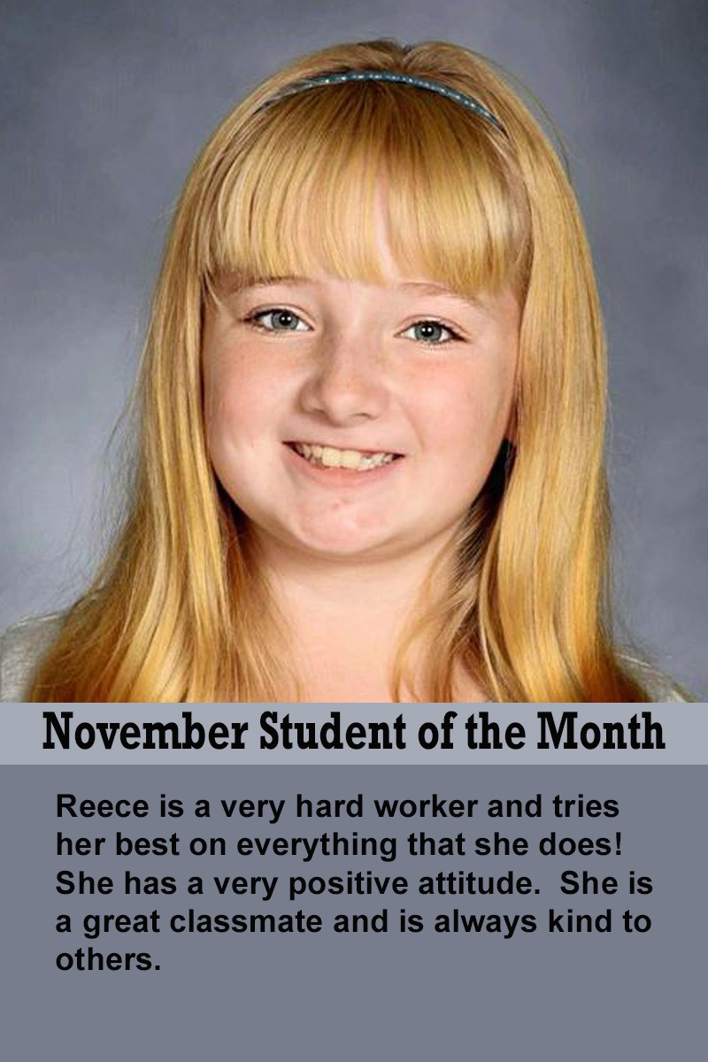 Mrs. Thomas' November Student of the Month