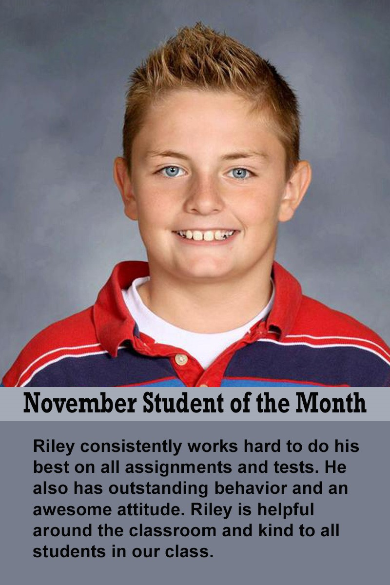 Mrs. Barteau's November Student of the Month