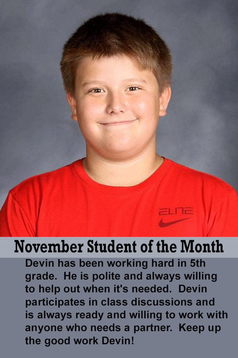 Mrs. Justice's November Student of the Month