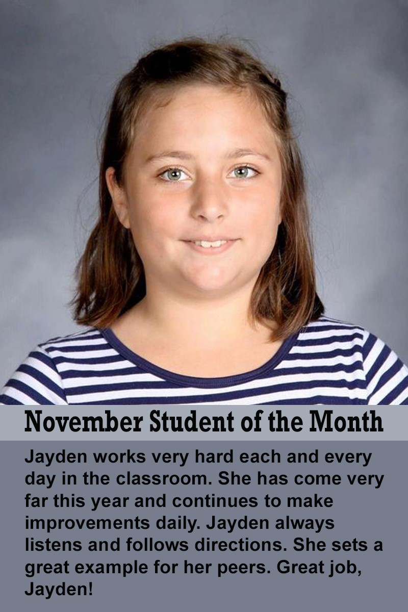 Ms. Suarez's November Student of the Month