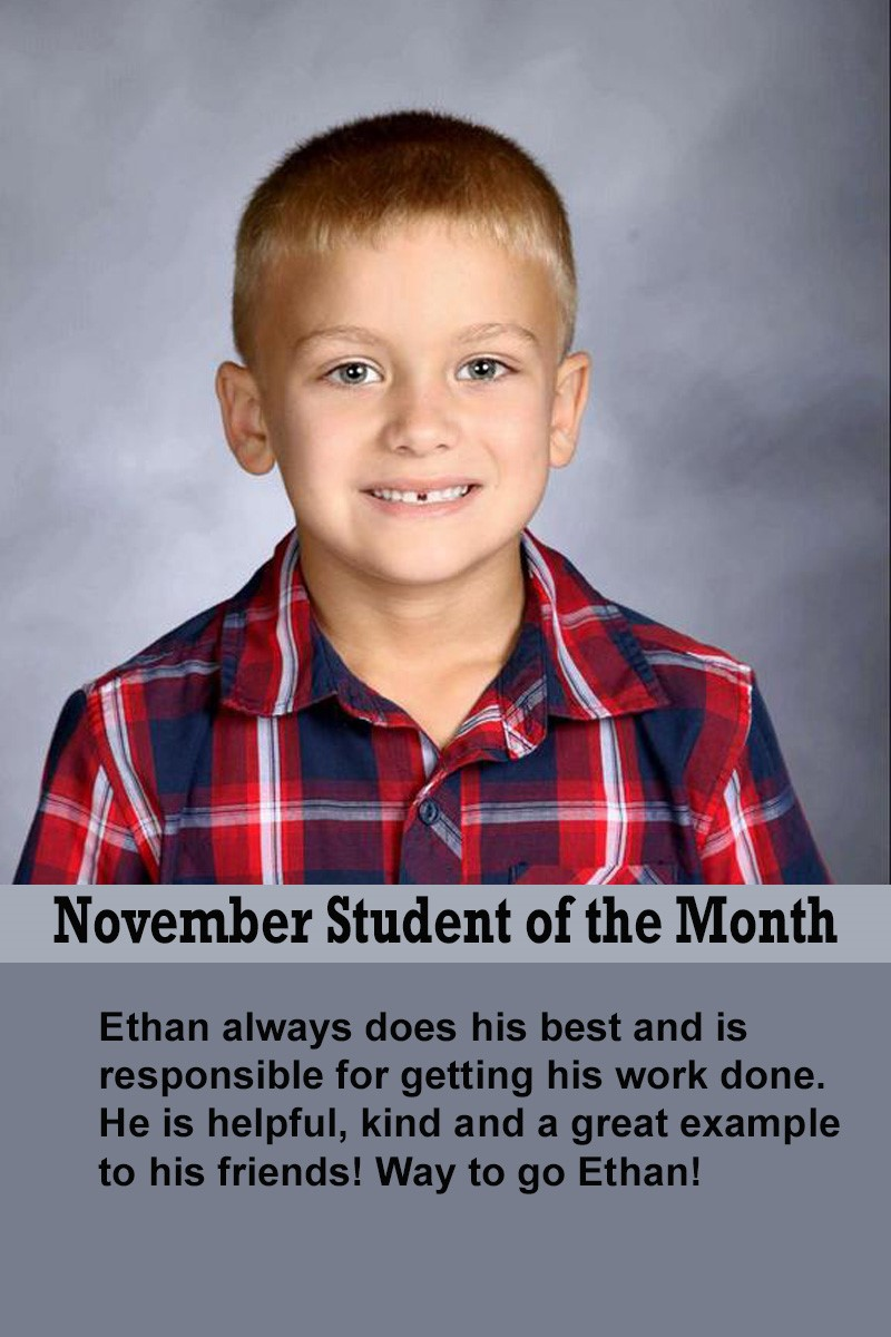 Mrs. Brown's November Student of the Month