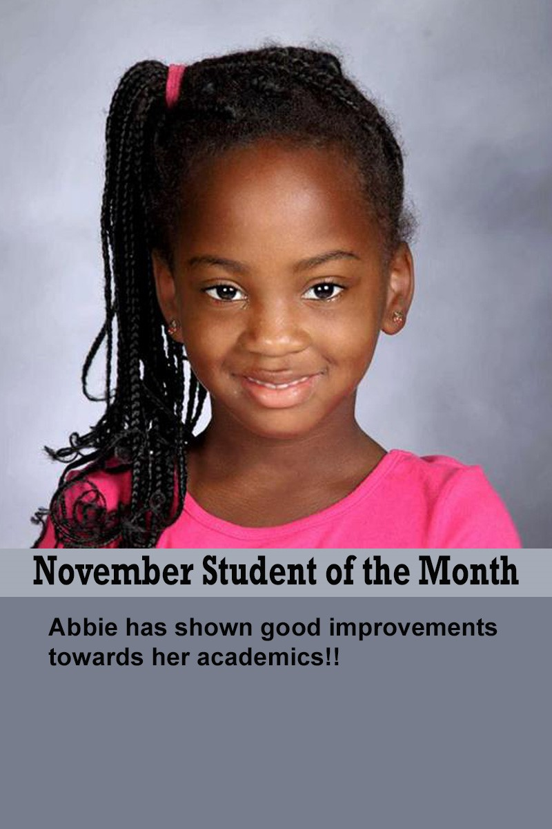 Mrs. Ewer's November Student of the Month