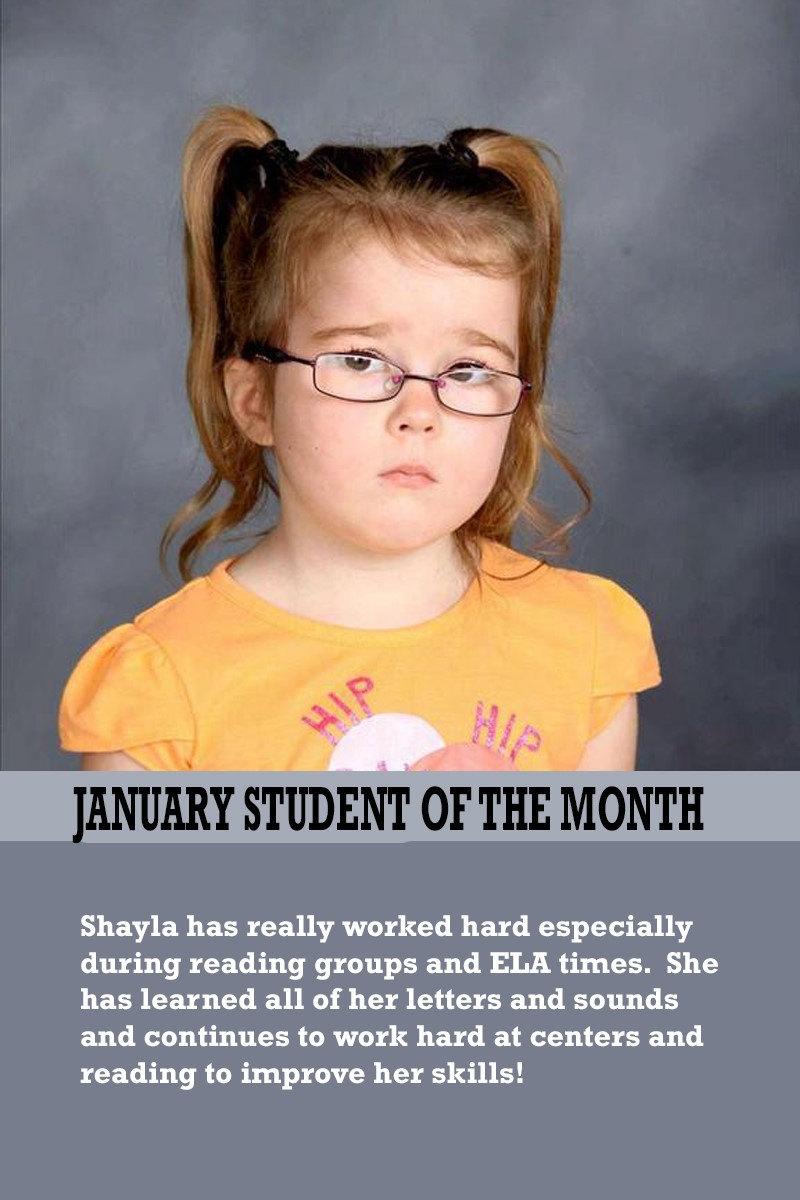Mrs. Ewers' January Student of the Month
