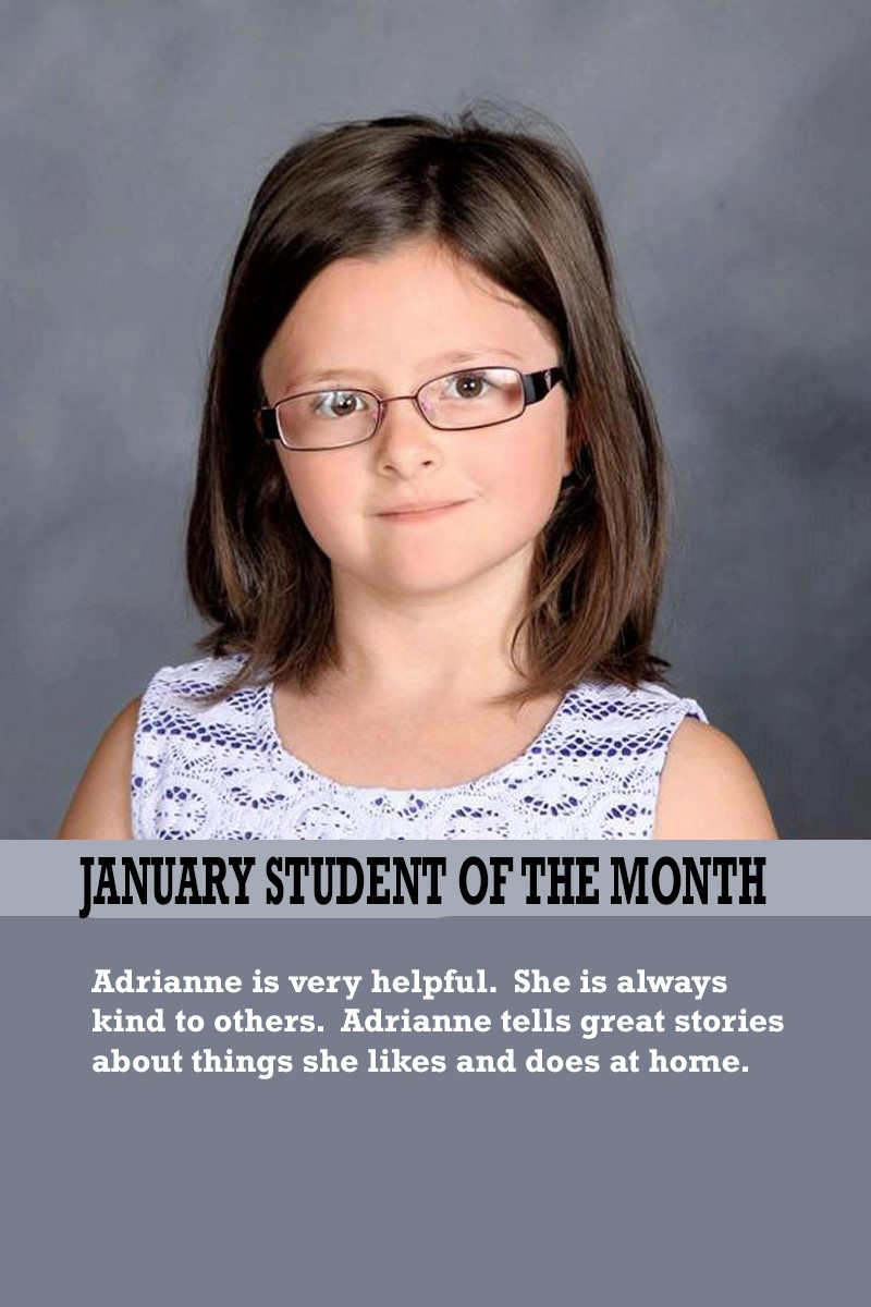 Mrs. Souhrada's January Student of the Month