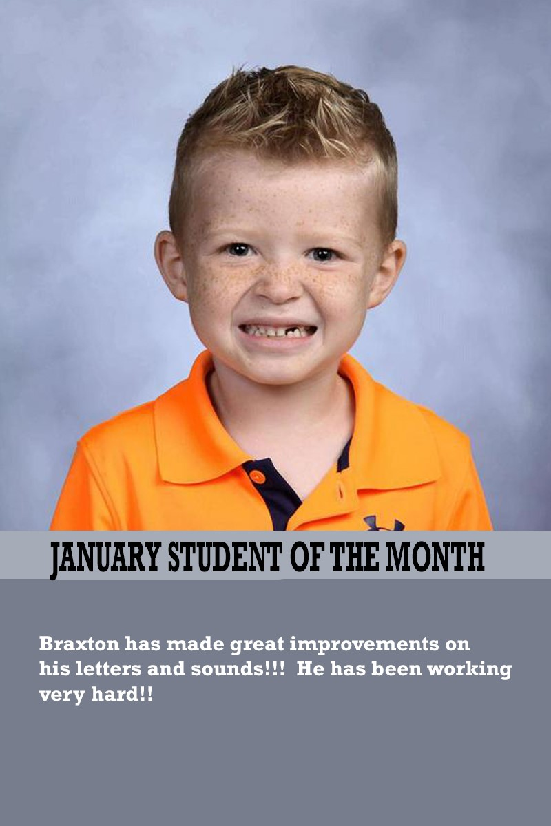 Mrs. Gregory's January Student of the Month