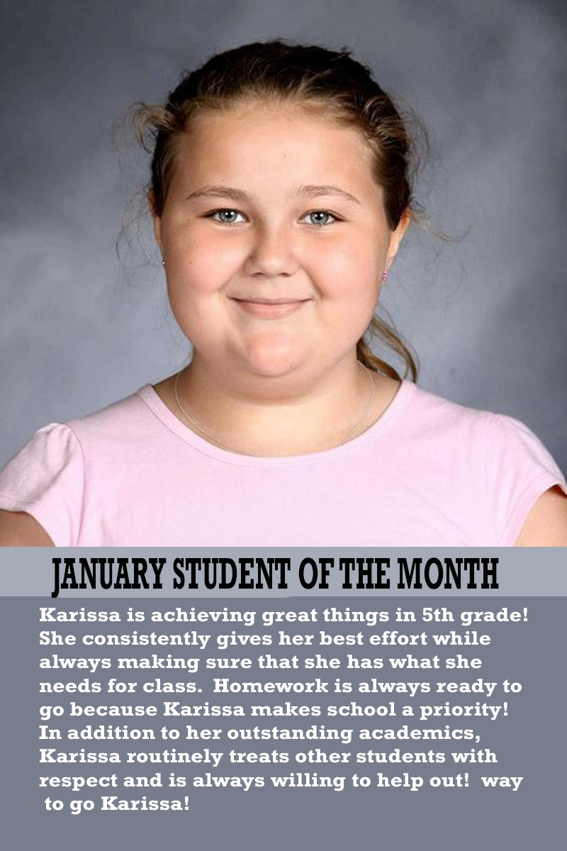 Mrs. Justice's January Student of the Month