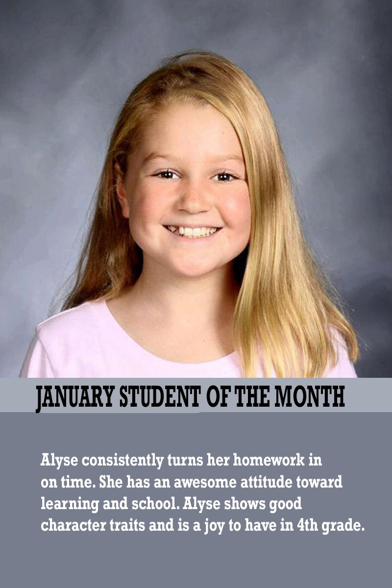 Mrs. Barteau's January Student of the Month