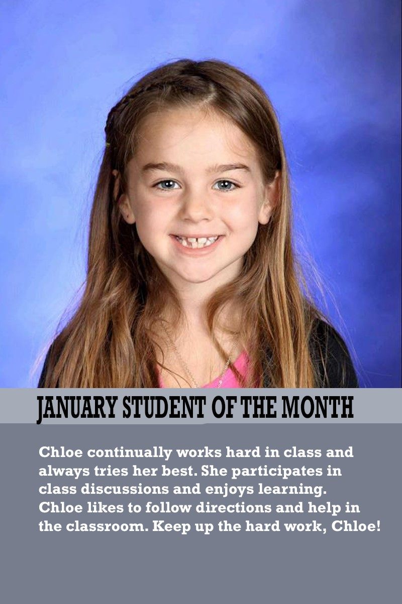 Ms. Suarez's January Student of the Month