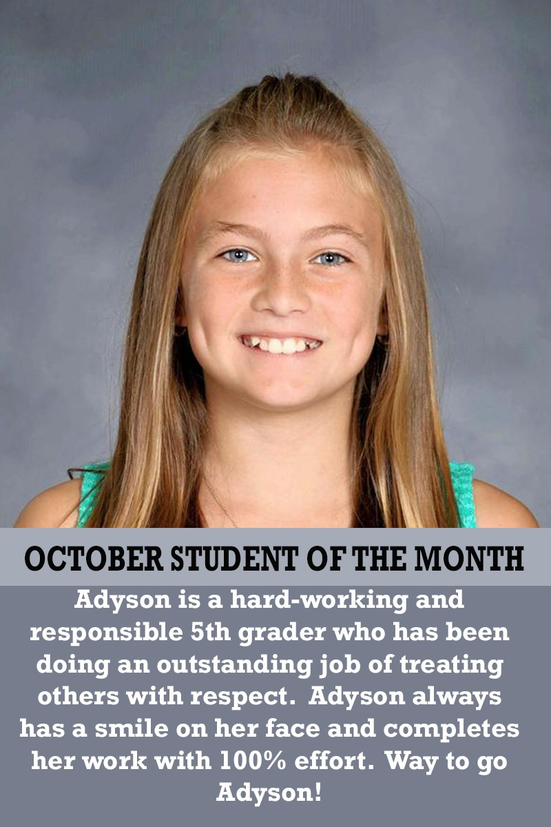 Mrs. Justice's October Student of the Month