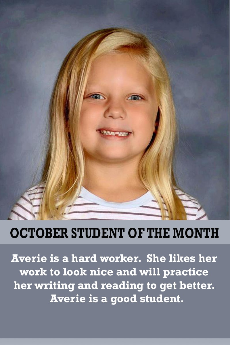 Mrs. Souhrada's October Student of the Month