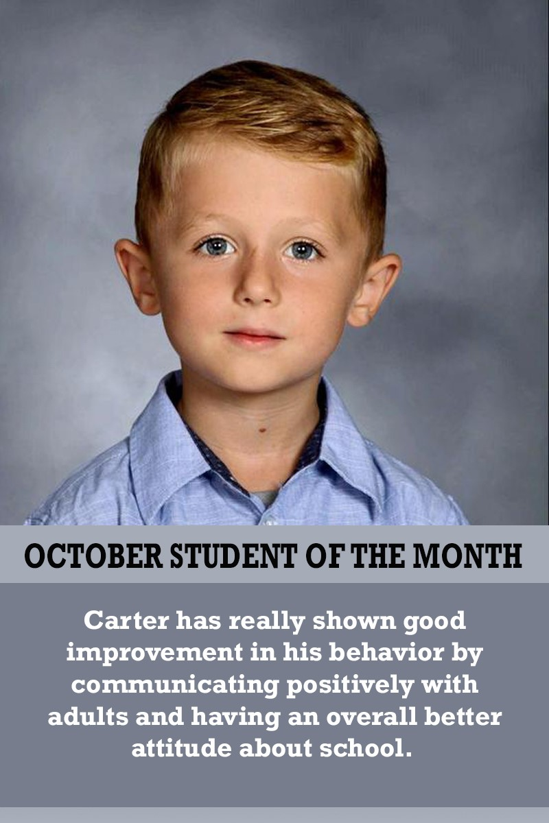 Mrs. Gregory's October Student of the Month