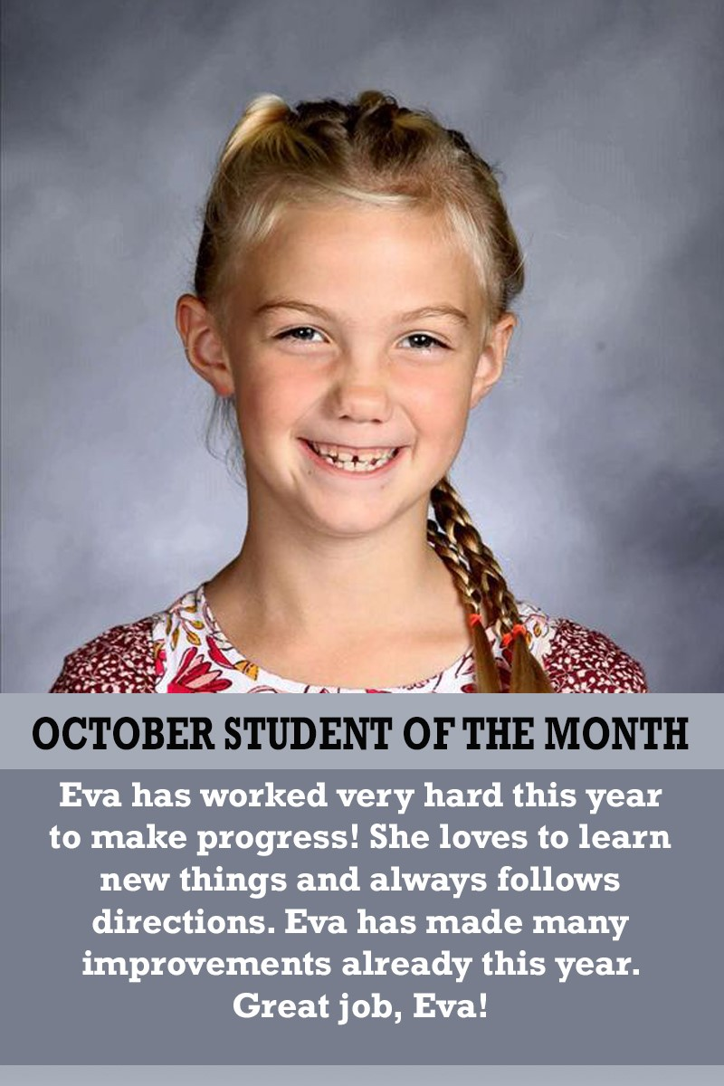 Ms. Suarez's October Student of the Month
