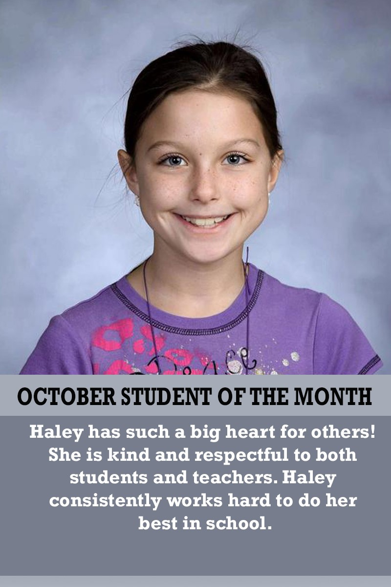 Mrs. Barteau's October Student of the Month