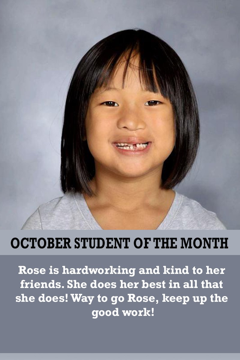 Mrs. Brown's October Student of the Month
