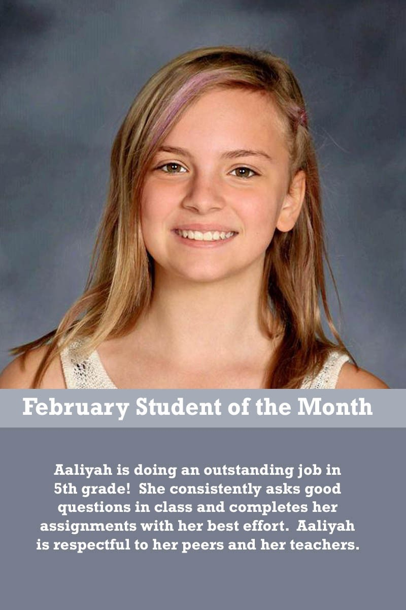 Mrs. Justice's February Student of the Month